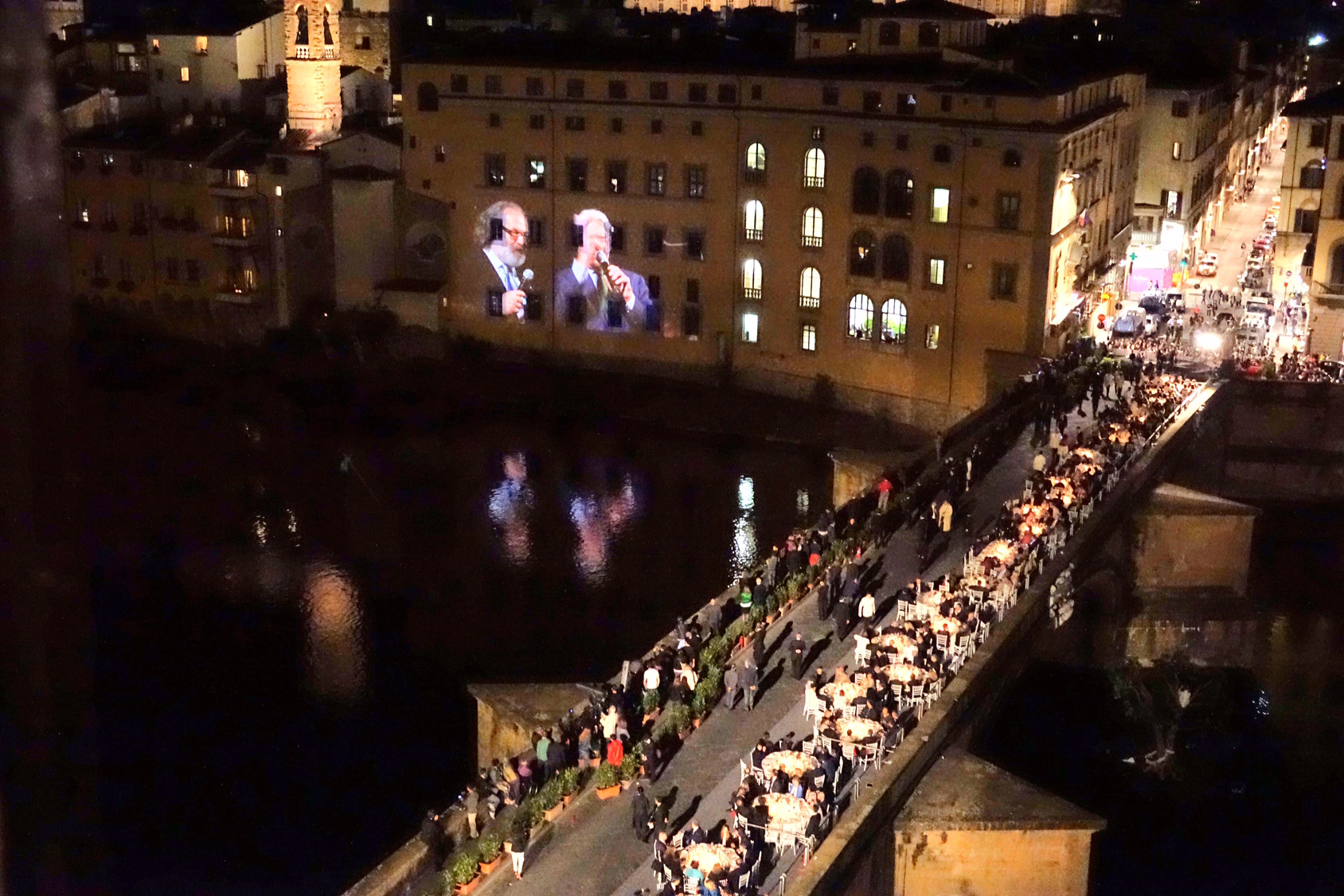 Firenze pitti uomo, cena per inaugurazione nuova illuminazione ponte vecchio